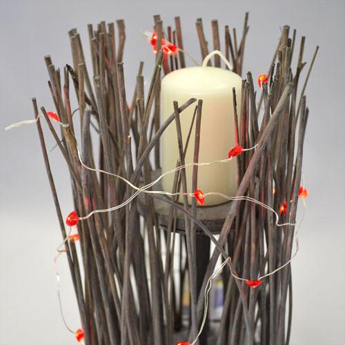Lichterkette Herzen - 20 MICRO LEDs - rot