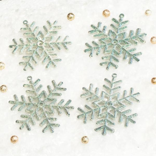 Hänger Eiskristalle Schneeflocke Glitzer (4 Stück) - weiß