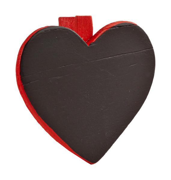 Herztafel mit Klammer (6 Stück) - rot