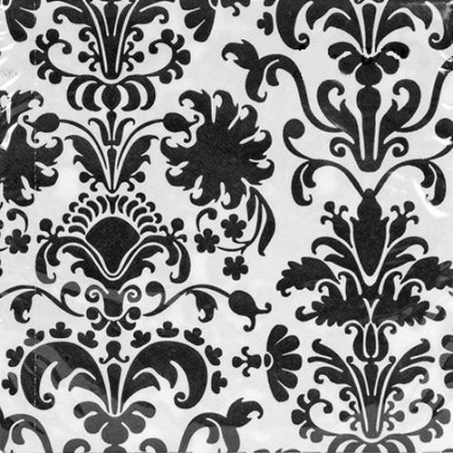 Dinnerervietten Brokat (12 Stück) - weiß & schwarz