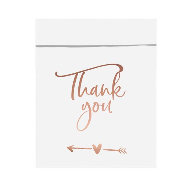 Papiertüten 'Thank you' (6 Stück) - weiß & roségold
