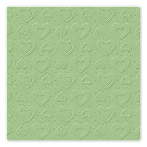 Servietten Herzen geprägt (16 Stück) - mint