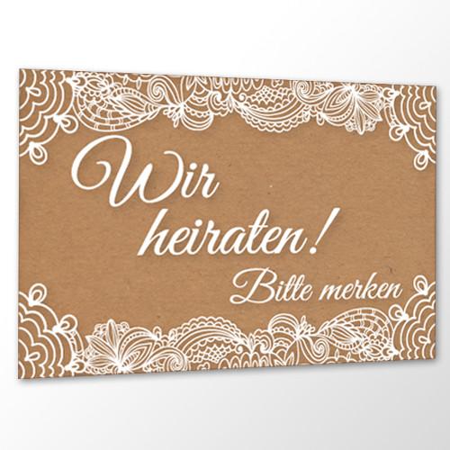 Save the Date Karte Hochzeit - Vintage Kraftpapier