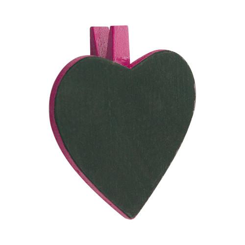 Herztafel mit Klammer (6 Stück) - pink
