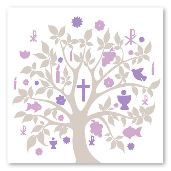 Servietten Baum Kommunion (20 Stück) - taupe & lila