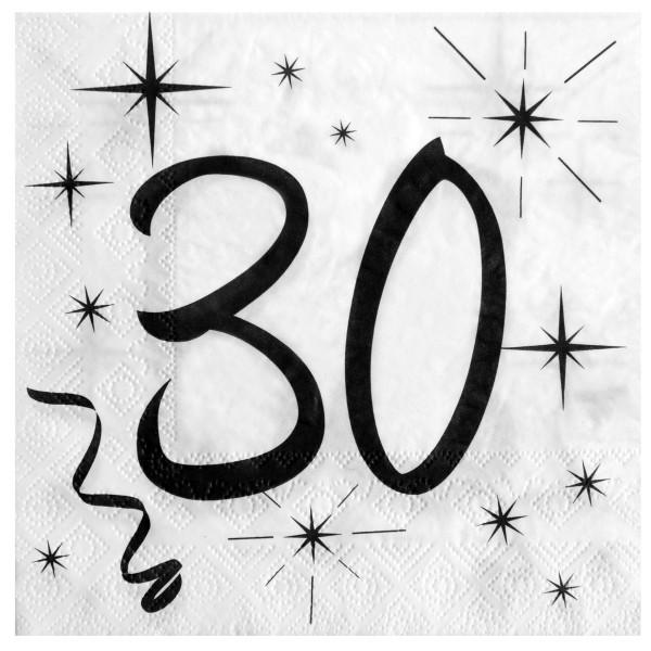 Servietten 30. Geburtstag - weiß & schwarz