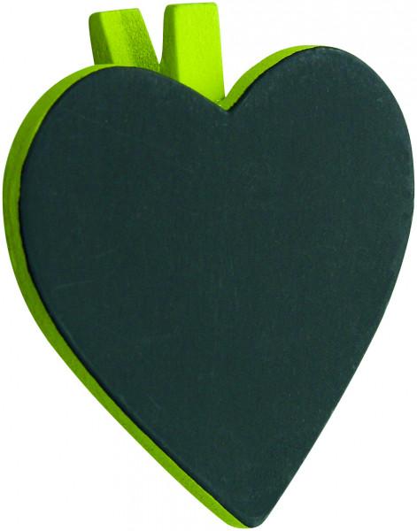 Herztafel mit Klammer (6 Stück) - hellgrün