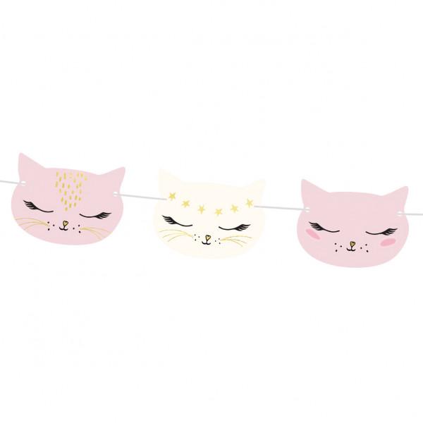 Katzen Party Girlande 1,4 m - rosa & gold