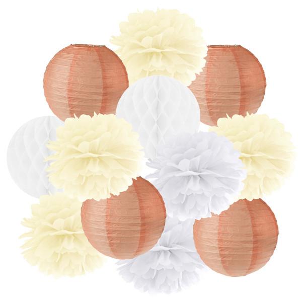 Hängedekoration 12 teilig Mix apricot, creme & weiß