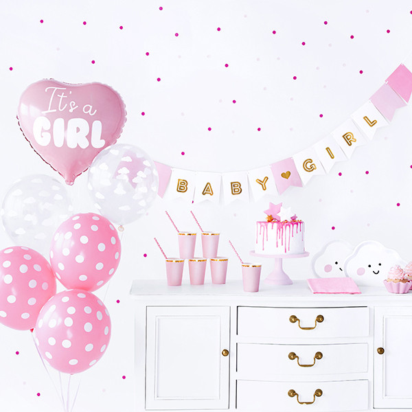 Babyparty Dekoset 'It's a girl' Mädchen 49 tlg. - rosa & gold