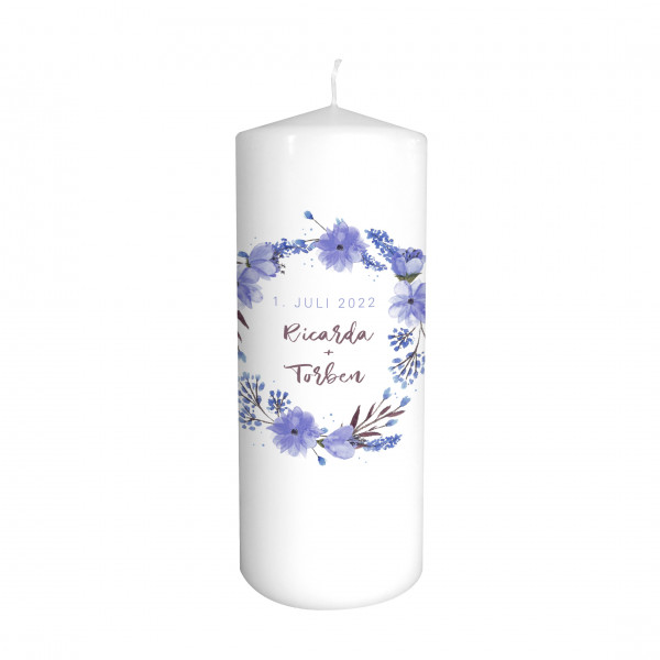 Hochzeitskerze Blumenkranz blau