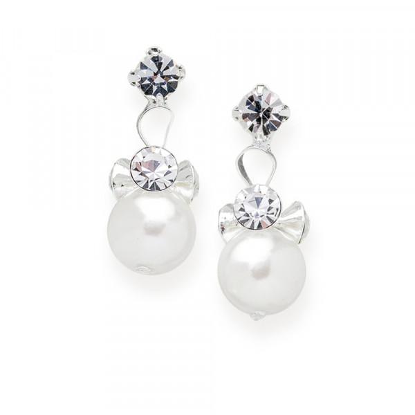 Ohrhänger mit Perlen und Strasssteinen, creme