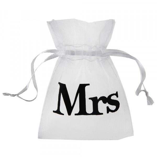 Organzasäckchen 'Mrs' 7,5 x 10 cm (10 Stück) - weiß