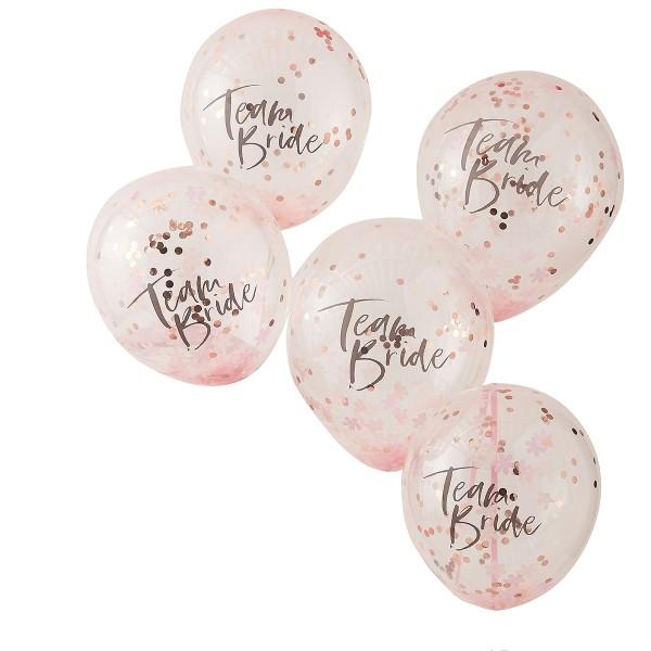 Floral Party Konfetti Luftballons 'Team Bride' 5 Stück