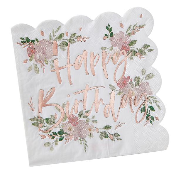 Floral Party Happy Birthday Servietten 16 Stück