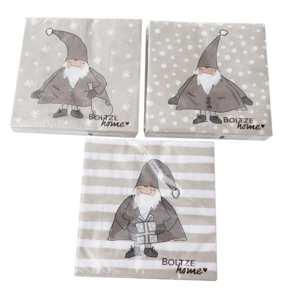 3 x 20 Servietten 'Weihnachtsmann' - taupe