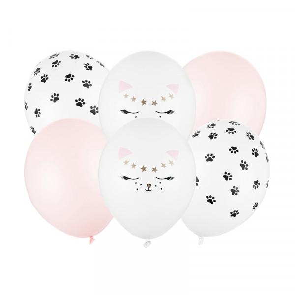 Katzen Party Luftballons (6 Stück) 30 cm