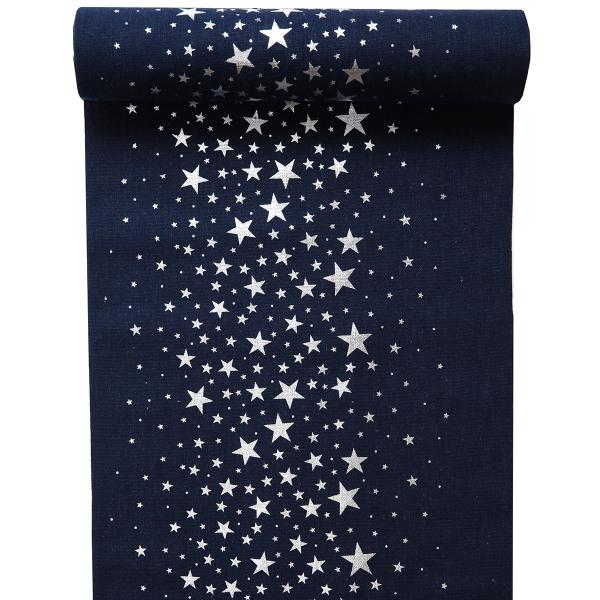 Tischläufer Sterne 28 cm x 3 m - blau & silber