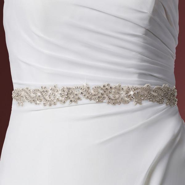 Brautgürtel 'Sue' mit Ornamenten aus Strass & Glasperlen