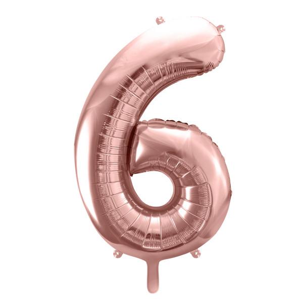 Folienballon '6' 86 cm - roségold