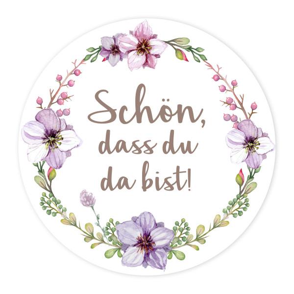 24 Aufkleber 'Vintage Flower - Schön, dass du da bist!'