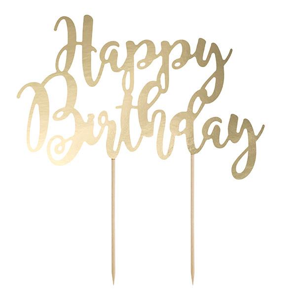Tortenstecker Happy Birthday Gold