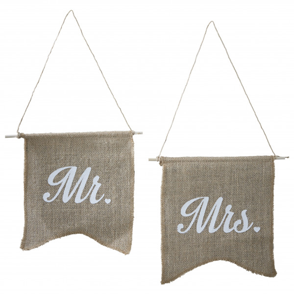 Stuhlschilder Jute 'Mr & Mrs'