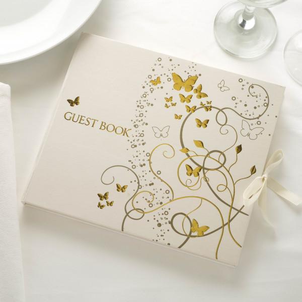 Gästebuch 'Guestbook Schmetterlinge' - creme / gold
