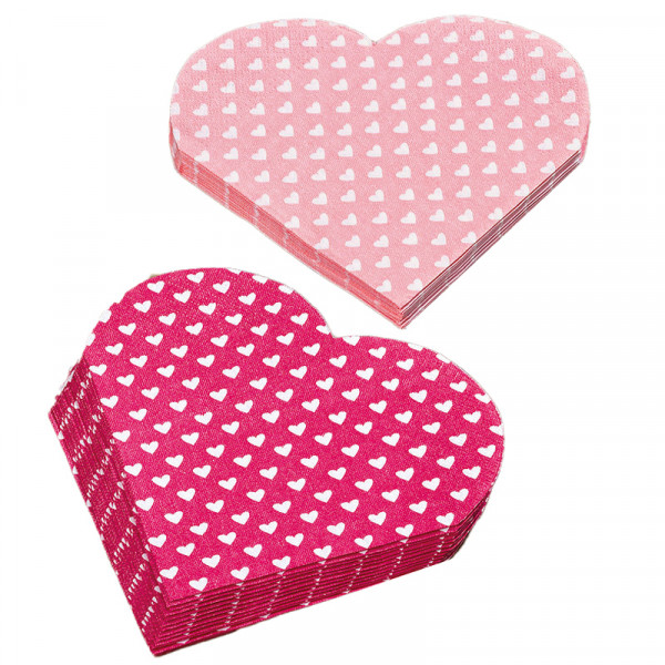 2 x 12 Herz-Servietten - rosa & pink