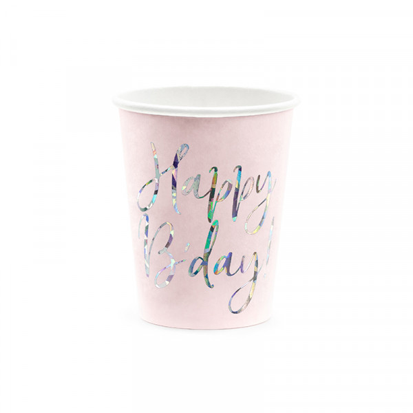 Becher 'Happy B'day!' (6 Stück) - rosa & holografisch