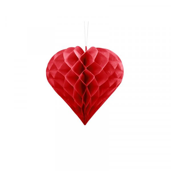 Herz Honeycomb / Wabenball Rot 20 cm