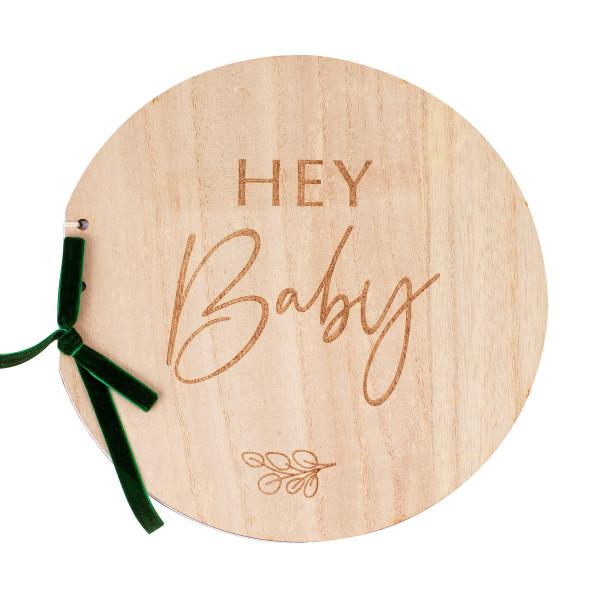 Botanical Baby Gästebuch 'Hey Baby' Holz - natur