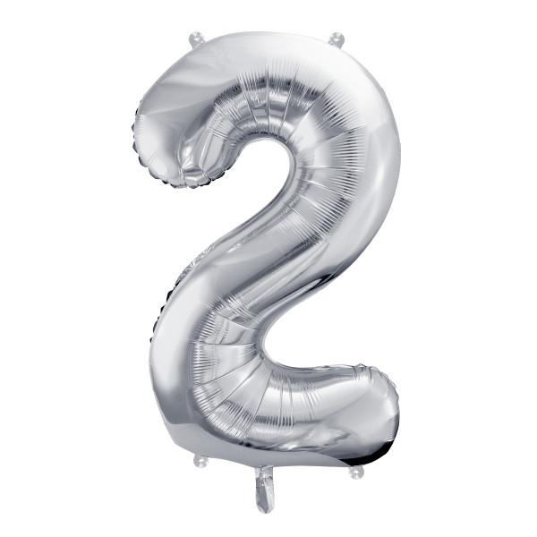 Folienballon '2' 86 cm - silber
