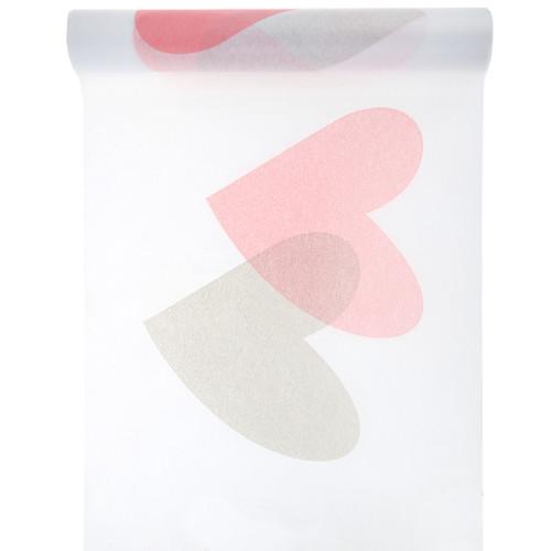 Tischläufer Herzen 30 cm x 5 m - rosa & grau