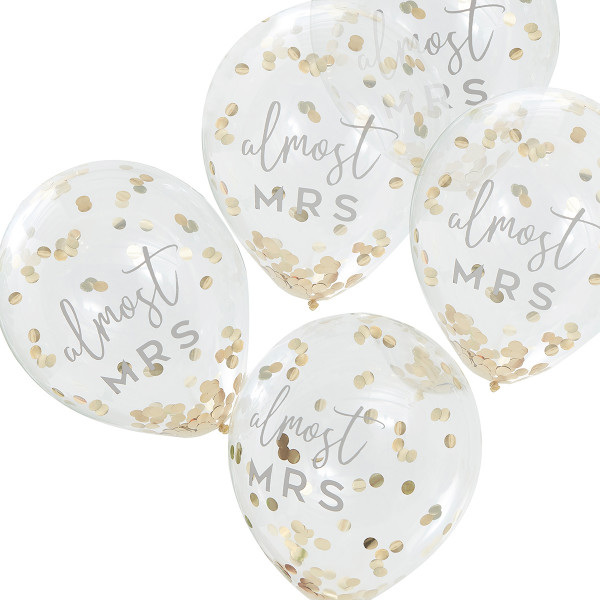 Botanical Party Ballons Almost Mrs mit Konfetti 5 Stück
