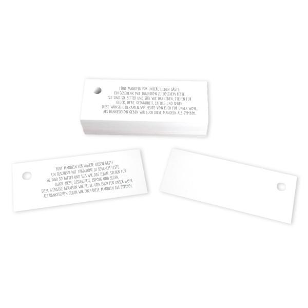 50 Kärtchen Mandelspruch für Hochzeit 7,5 x 3 cm