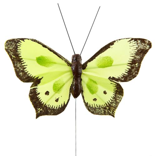 Schmetterlinge mit Draht (6 Stück) - hellgrün