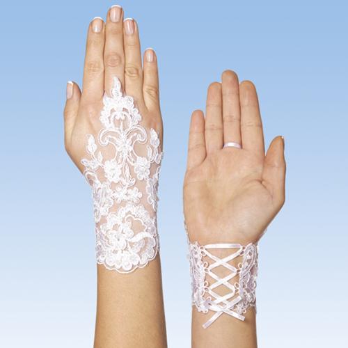 Brauthandschuhe 'Xuri' aus Spitze, Pailletten & Glasperlen - creme