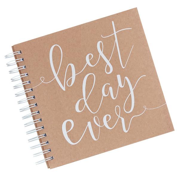 Gästebuch 'best day ever' mit 80 Umschlägen & Kärtchen - kraft