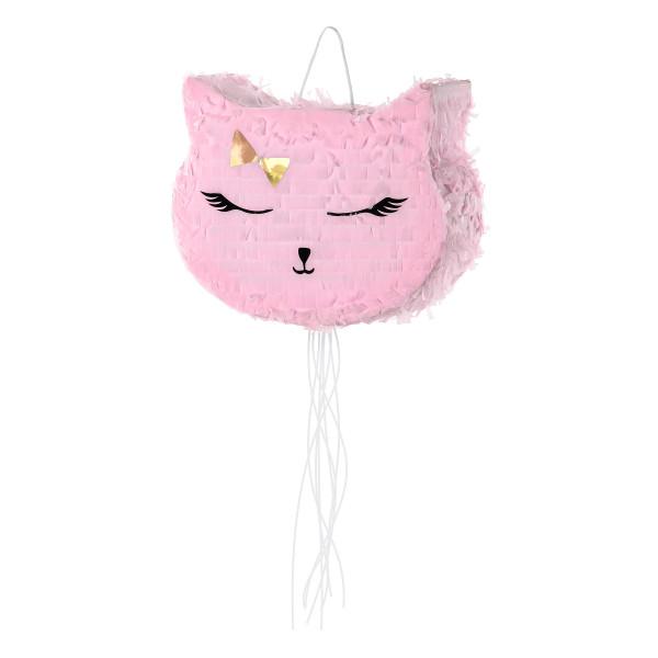 Katzen Party Pinata zum Ziehen - rosa & gold