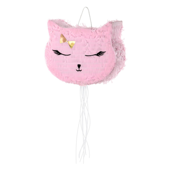 Katzen Party Pinata 35 x 27 cm - rosa & gold