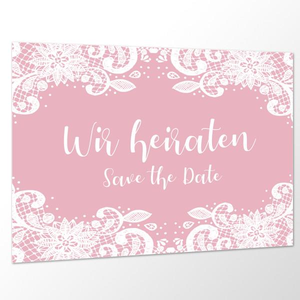 Save the Date Karte Hochzeit - Spitze rosa