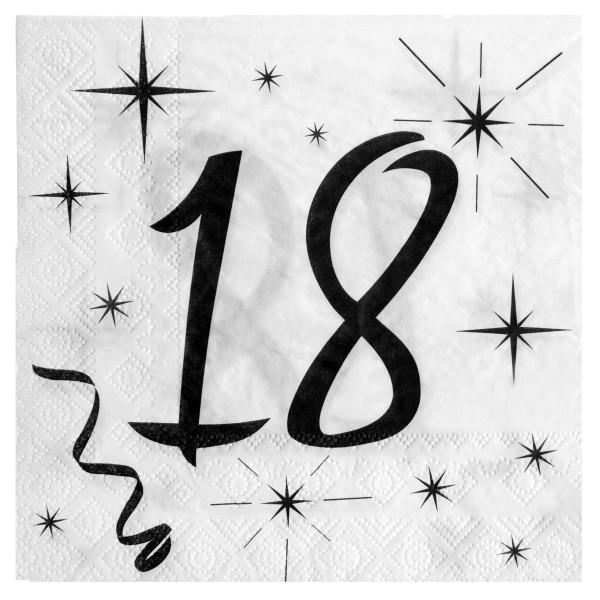 Servietten 18. Geburtstag - weiß & schwarz