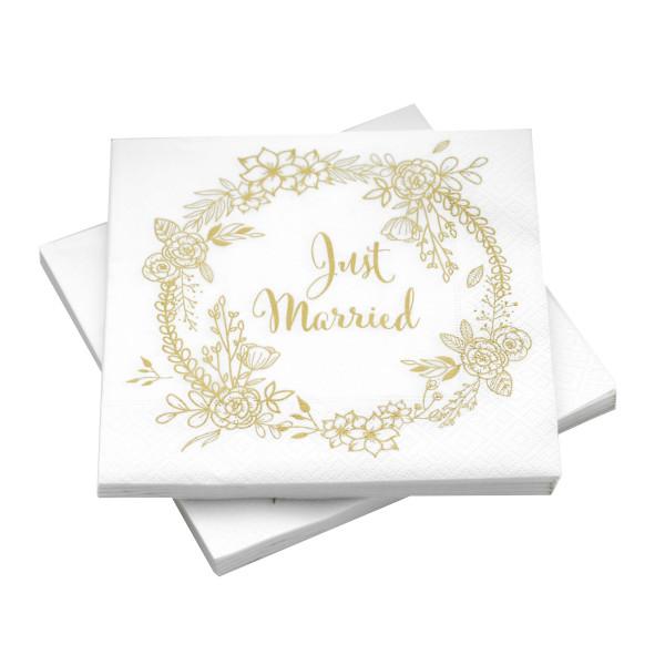 Servietten Just Married Blumenkranz (20 Stück) - gold