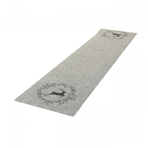 Tischläufer 'Hirsch mit Kranz', Filz 120 cm x 30 cm - hellgrau