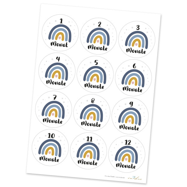 12 Aufkleber / Sticker Meilenstein 'Regenbogen'