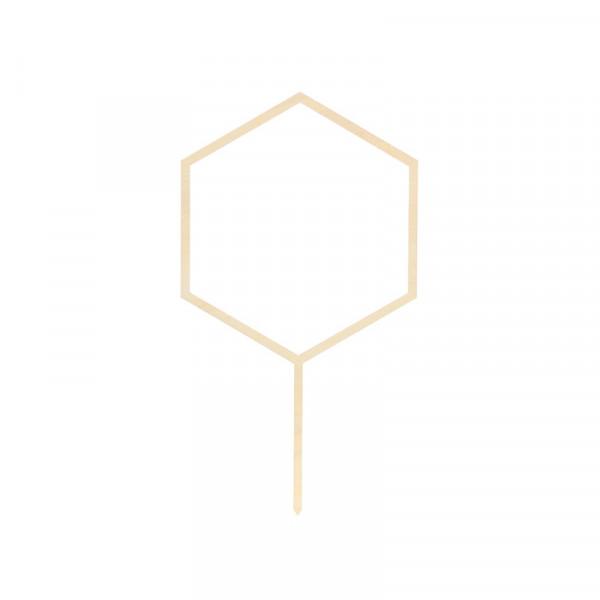 Tortenstecker Hexagon Holz - natur