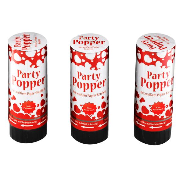 Konfetti-Kanone / Party Popper 3er Set - weiß