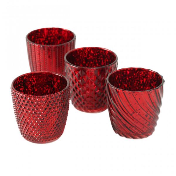 4 x Windlicht Matia rot metallic, Höhe 9 cm