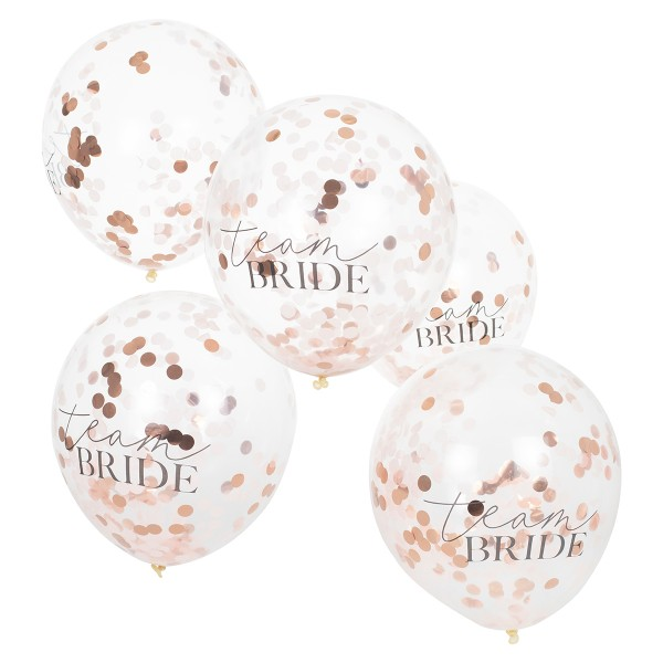 Blush Party Konfetti Ballons Team Bride 5 Stück
